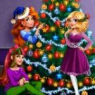 Girls Play Christmas Tree Decoration